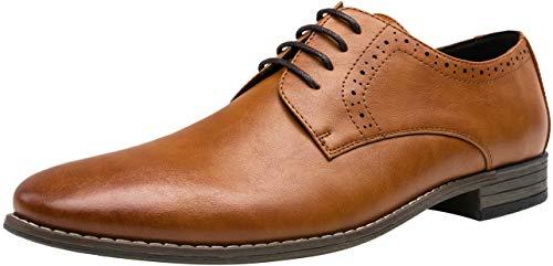 JOUSEN Men's Oxford Plain Toe Brown Dress Shoes Classic Formal Derby Shoes(10,Brown)