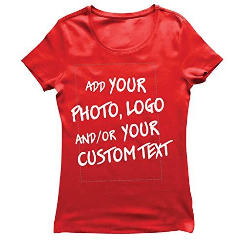 lepni.me Camiseta Mujer Regalo Personalizado, Agregar Logotipo de la Compañía, Diseño Propio o Foto (Medium Rojo Multicolor)