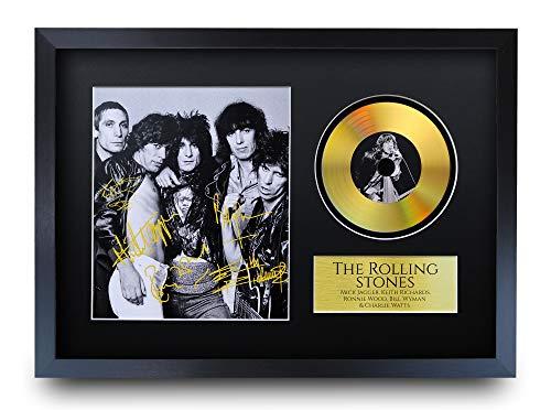 HWC Trading A3 FR Rolling Stones Mick Jagger Keith Richards Ronnie Wood Charlie Watts Gifts Signiertes Autogramm mit Goldener Scheibe Bilddruck für Musik-Erinnerungsstücke, A3 gerahmt