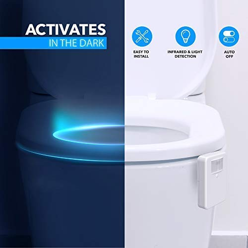 16-Color Toilet Night Light, Motion Activated Detection Bathroom Bowl Lights, Unique