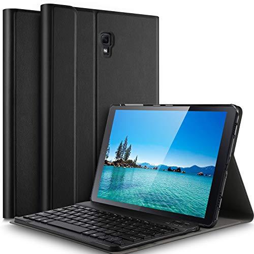 IVSO Samsung Galaxy Tab A 10.5 Tastatur Hülle, [QWERTZ Deutsches], Magnetisch Abnehmbar Tastatur Hülle für Samsung Galaxy Tab A T590/T595 10.5 Zoll 2018, Schwarz