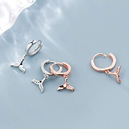 XKMY Pendientes de plata de ley 925 con forma de cola de sirena y circonita, pendientes de aro de oro rosa para mujer (color metálico: plata)
