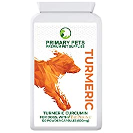 Primary Pets Premium Pet Supplies Turmeric for Dogs. 120 Pack. Hip and Joint Supplement for Dogs. 500mg inc Bioperine. Equates to 10000mg