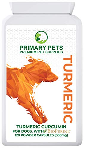 Primary Pets Turmeric for Dogs with Curcumin. 120 x 500mg Powder Capsules. Joint Supplement for Dogs with Bioperine Black Pepper Extract