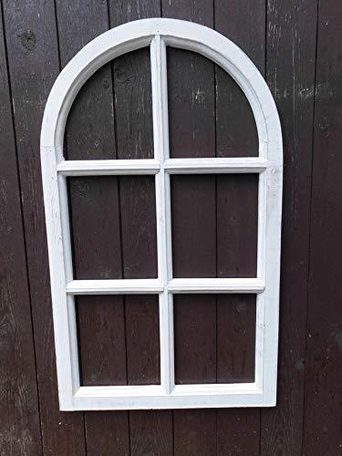 Deko-Impression Fenster Sprossenfenster Bilderrahmen halbrund Wanddeko Holz Weiss 70cm