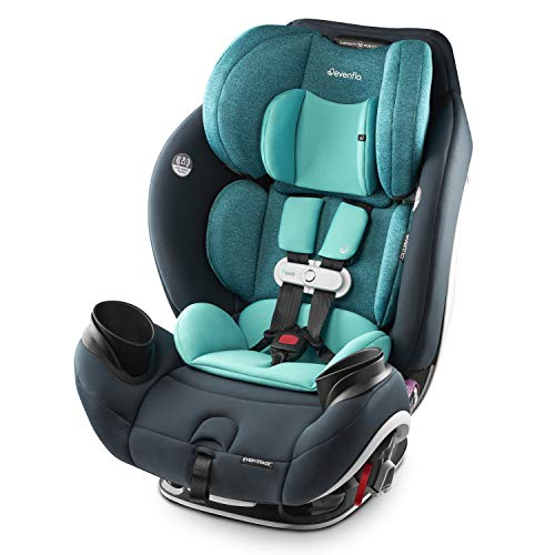 Evenflo Gold SensorSafe EveryStage Smart All-in-One Convertible Car Seat, Use for 10 Years, Harness Sensor Syncs Automatically with App, EasyClick Installation, Fits Child 4 to 120 Pounds, Sapphire