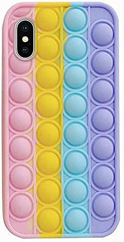 Herbests Custodia Compatibile con iPhone X/iPhone XS Cover Bubble Stress Relief Custodia Morbida in Silicone Pop Sensory Fidget Toy Cover TPU Bumper Antiurto Antistress Case, Arcobaleno