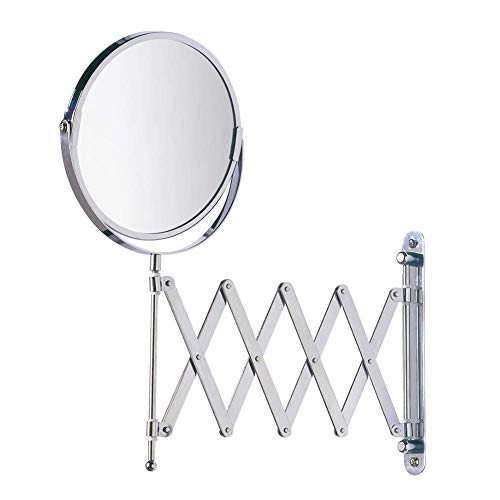 Lupa Lupa 3X Espejo de Aumento de Maquillaje de 200 mm, 360 °Espejo Giratorio de Doble Cara para Afeitar para baño, Espejo de tocador cosmético Redondo de Pared, Brazo Plegable Extensible