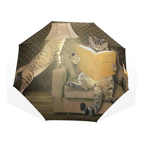 Umbrella Table Lamp Reading Cat 3 Folds Anti-UV Windproof Lightweight