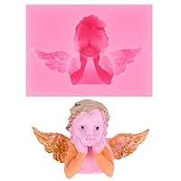 Longeryk 3Dシリコーンフォンダン型チョコレートポリマー粘土カップケーキトッパー装飾、天使