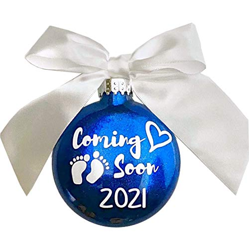 WMC Coming Soon! 2021 Birth Announcement Glass Glitter Christmas Ornament (Red)