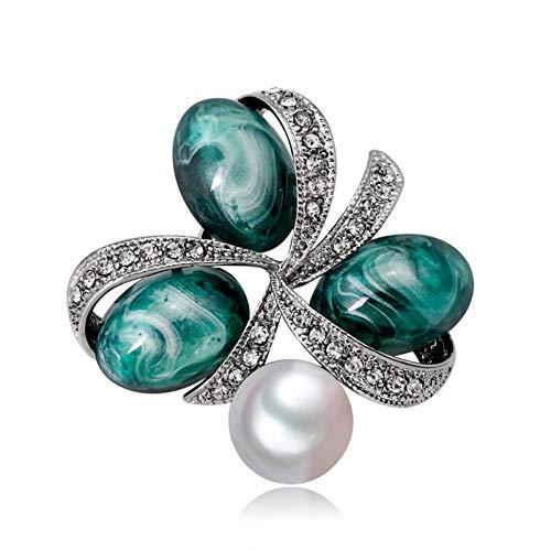ERDING broche/broche/broche vintage met parels voor dames strass kristal broche bloemen broche van steen kleur bruidsjurk sieraden