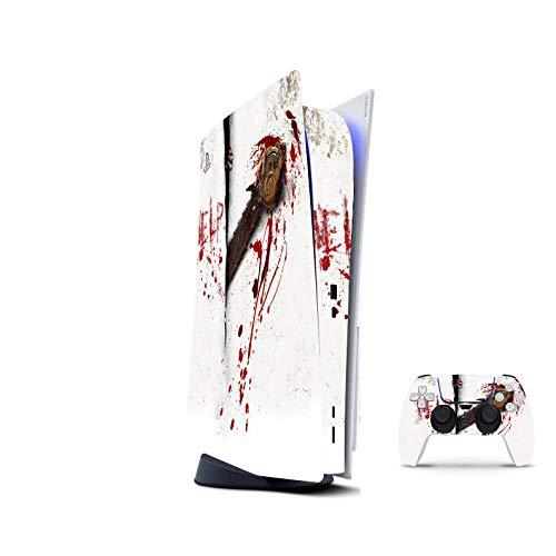 PS5 Skin Console Controllers De 46 North Design, Misma Calidad Que Las Calcomanías De Coche, Blood Calcomanía Blanco Rojo Horror Alta Calidad, Duradera, Compatible Con PS5 W/Disk, Fabricado En Canadá