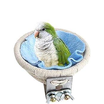 MEISO Nid d'élevage en corde de coton pour perruches, calopsittes, conures, canaris, inséparables et petits perroquets