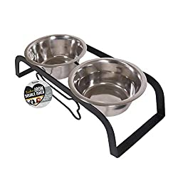 Sturdy metal stand crafted from robust iron - made to last Includes two premium quality, dishwasher safe, stainless steel bowls Elevated design helps reduce strain on bones and joints This double diner measures 40 x 17 x 12 cm Makes a great gift for ...