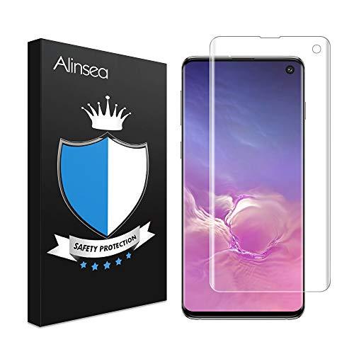 Alinsea Schutzfolie für Galaxy S10, [Fingerabdrucksensor Kompatible] [9H Härte] [Einfach Installation] [Blasenfreie] 3D Panzerglas Displayschutzfolie für Samsung Galaxy S10