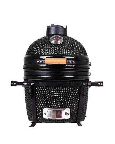"YNNI KAMADO TQ0015BL 15.7"" Free Standing Kamado, Grill, BLACK, BBQ, Ceramic, Egg, Smoker, TQ0015BL"