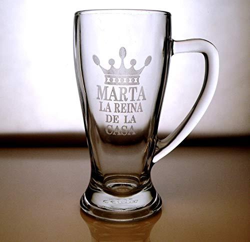 Arte-Deco Jarra DE Cerveza Baviera GRABADA Y Personalizada con EL DISEÑO Reina DE LA CASA. Jarra de Cerveza de 510 Ml. Regalo Original, Divertido y práctico Que hará Feliz a la Madre de la casa