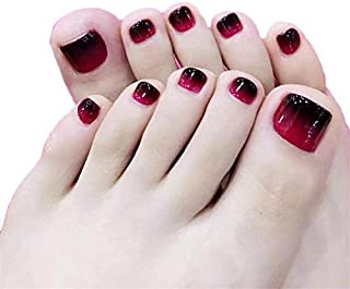 24pcs Black and Red Fake Toe Nail Tips Short Square False Toenails Full Cover for Women and Girls
