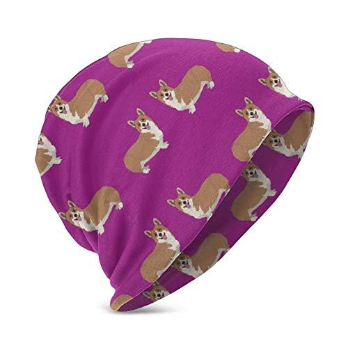 Happy Corgi Hunde auf magentafarbenem Lila, süße Strickmütze für Kinder, weich,...