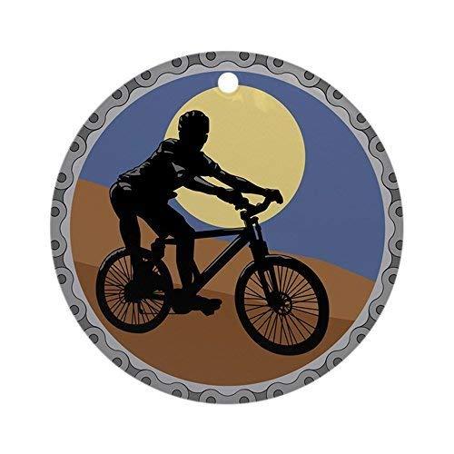 Cukudy Mountainbike ketting ontwerp keramische ornament 3 inch ronde vakantie kerstversiering