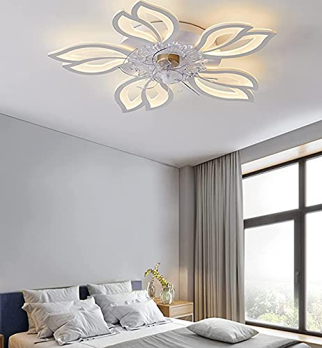 Ventiladores LED Regulable, con Control Remoto, Silencioso Control Remoto Temporizador Velocidad del Viento Ajustable Lámpara de Ventilador de Techo Invisible Ø60cm para la Sala de Estar del Hogar