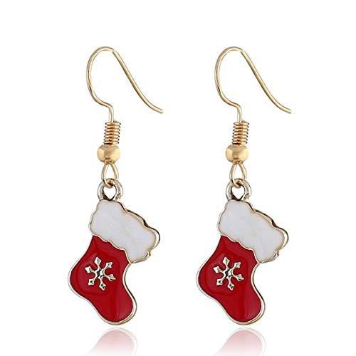 Jessicadaphne Christmas Socks Mistletoe Earrings Dangle Drop New Year Decoration Jewelry For Women Girls Teens Gift Charms