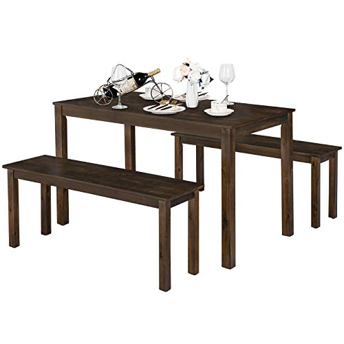 Giantex Dining Table with Bench, Wooden 3 Pcs Kitchen Dining Room Furniture for 4, Modern Studio Collection Table Set with 2 Beches, Dinette Set, Kitchen Small Bench Table Set (Coffee Brown)