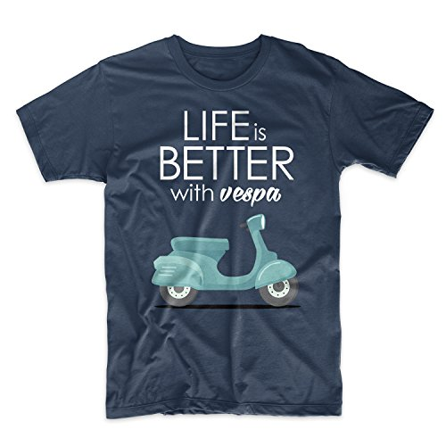 Life is Better with Vespa Scooter Moped Herren T-Shirt Marineblau X-Large