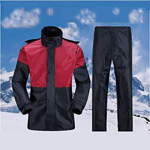 Poncho Impermeable Conjunto Impermeable para Adultos, Color a Juego, Traje Doble, pantalón Impermeable Dividido-Vino y Marina_SG