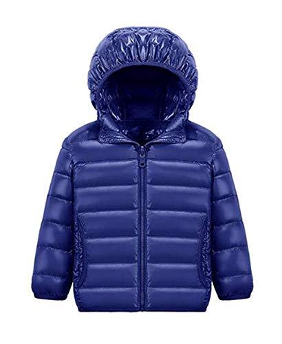 Blouson Manteau Léger Enfant Garçon Fille Doudoune à Capuche - Veste à Manches Longues Sport bébé Ski Vêtement Marine 130