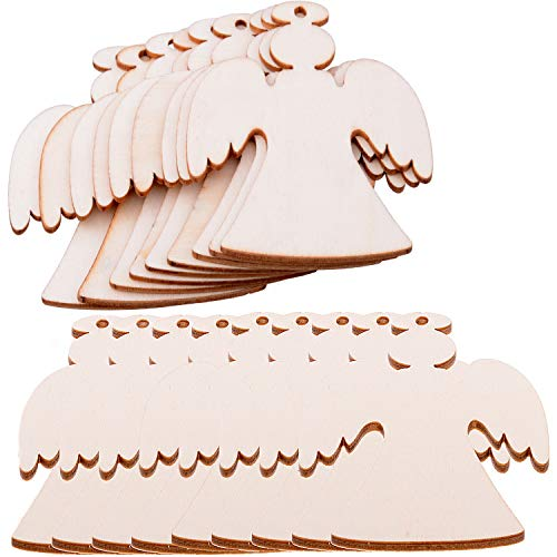 Pack of 50 Wooden Crafts to Paint Christmas Tree Hanging Ornaments Unfinished Wood Cutouts Christmas Decoration DIY Crafts (Wooden Angel Cutouts)