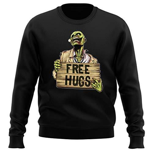 Pull Noir Parodie The Walking Dead - Walking Dead Zombie - Free Hugs - Free Hugs - Zombie (Sweatshirt de qualité Premium de Taille L - imprimé en Fran