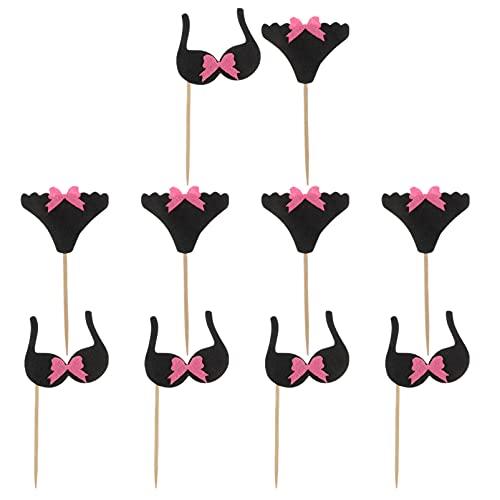 NUOBESTY 24Pcs Bachelorette Party Cupcake Topper Mädchen Bikini BHS Kuchen Topper Hen Party Cupcake Topper für Bachelorette Party Hen Party Decor