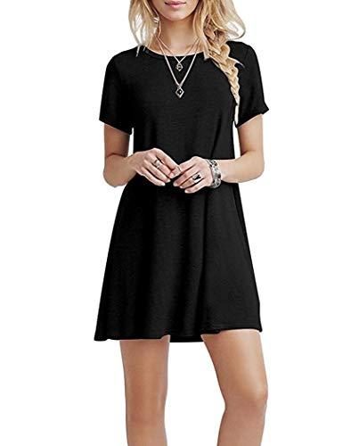 YOUCHAN Kleid Damen Sommerkleid Freizeitkleid Shirtkleid T-Shirt Bluse Tunika Kurzarm Leger Langes Locker Kleider Schwarz L