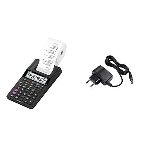 Casio HR-8RCE Drucker, 12 stelliger Taschenrechner. & AD-A60024 Netzadapter für druckende Tischrechner HR-Serie, schwarz