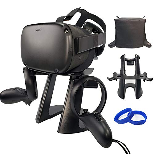 VR Stand Headset Controller Holder Mount with DustProof Cover and Cable Velcro Strap Accessories for Oculus Quest/Rift/Rift S/GO/HTC Vive/Vive Pro/Play Station VR/Valve Index VR/Daydream