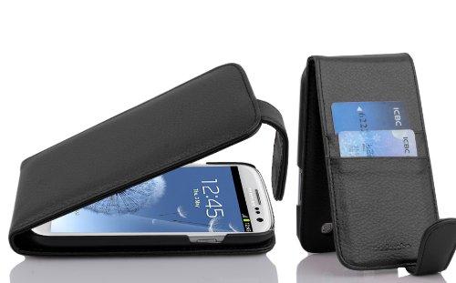 Cadorabo Funda para Samsung Galaxy S3 / S3 Neo in Negro Jet - Cubierta Proteccíon Estilo Flip con Tarjetero - Etui Case Cover Carcasa