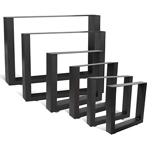 wolketon 2x Pieds de Table 30x43cm métal, Pieds de meuble aspect vintage et industriel, revêtement par poudre noir, pieds de meuble robustes, pour table basse, table à manger, bureau