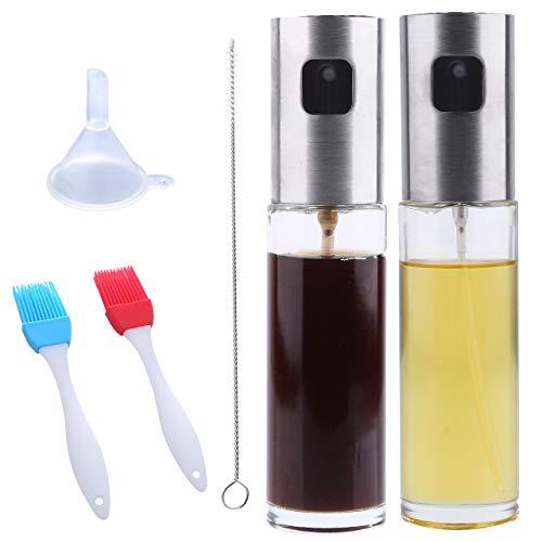 Olive Oil Sprayer Bottle –2 Pack Bundled with Oil Brush, Funnel and Cleaning Brush, Stainless Steel Dispenser Glass Cooking Oil Sprayer Spritzer for Vinegar Lemon Juice Avocado Oil Coconut Oil