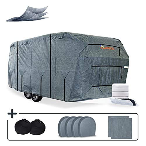 KING BIRD Extra-Thick 4 Layers Travel Trailer RV Cover Anti-UV Top Panel, Durable Camper Cover, Fits 20'-22' Motorhome -Breathable, Water-Proof, Rip-Stop with 2Pcs Extra Straps & 4 Tire Covers