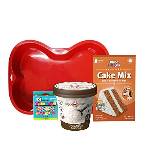 Puppy Cake Cake and Ice Cream Dog Birthday Cake Kit in with Peanut Butter, Your Choice of Ice Cream Mix, Bone Silicone Pan and 24 Candles (Maple Bacon)