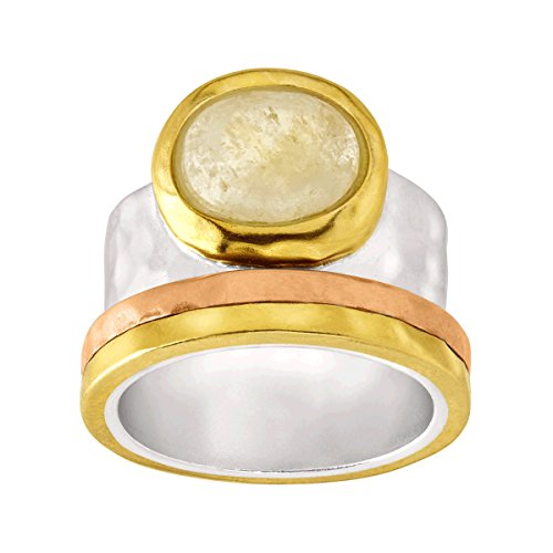 Silpada 'Metallic Mix' Natural Citrine Ring in Sterling Silver, Brass, Copper, Size 11