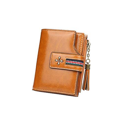 Heigmz qb - Cartera de piel para mujer, con cierre elegante, con cierre de cremallera, para mujer, con tarjeta de crédito, para mujer, color marrón