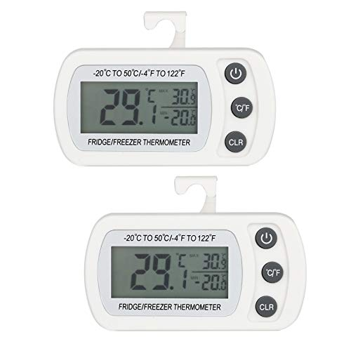 Thlevel 2PCS Kühlschrank Thermometer Wasserdicht Digital Gefrierschrank Thermometer Zimmerthermometer mit Haken LCD Display lesen Max Min Funktion
