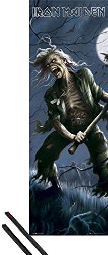 1art1 Iron Maiden Póster para la Puerta (158x53 cm) Reincarnation of Benjamin Breeg Y 1 Lote De 2 Varillas Negras
