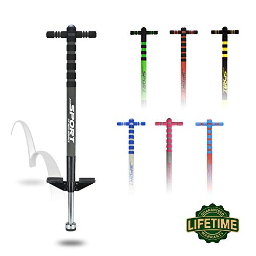 New Bounce Pogo Stick for Kids - Pogo Sticks for Ages 5 and Up, 40 to 80 Lbs - Sport Edition, Quality, Easy Grip, PogoStick for Hours of Wholesome Fun (Black & Charcoal)