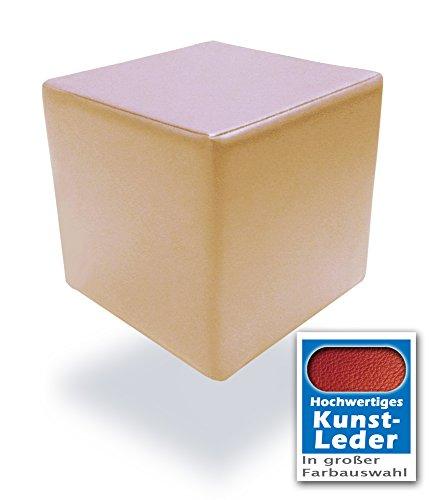 Spielpolster Schaumstoff Würfel in Beige mit hochwertigem Kunstlederbezug und Qualitätsschaumstoff 40 x 40 x 40 cm. Kinder Spielspaß, Sitzhocker, Sitzwürfel, Schaumstoffwürfel. (Beige)