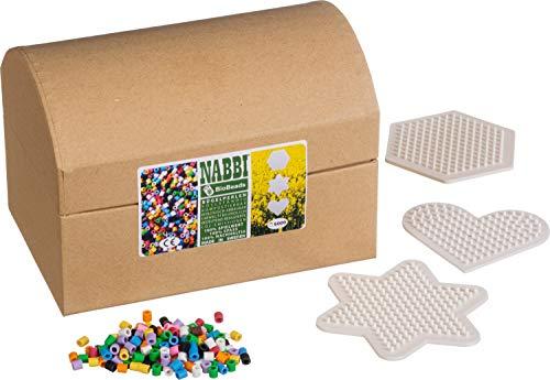 Nabbi Bio Bügelperlen, Ø 5 x H 5 mm, 5.000 Stk, 10 Farben Mix, 3 Legeplatten, Box