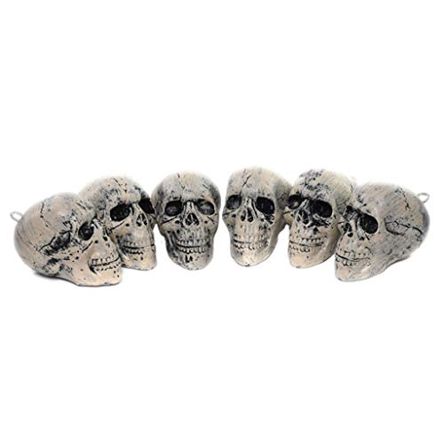 catyrre 6Pcs Halloween Simulation Human Skeleton Schädel Kopf Spielzeug, Bone Pendants Halloween Dekoration Props for Haunted House Bar Ktv Ornaments